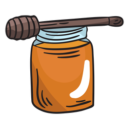 Honey jar dipper illustration