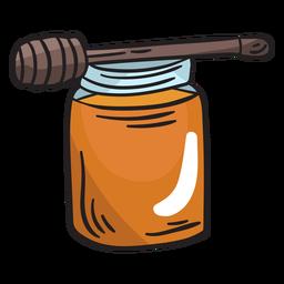 Ilustración de cucharón de tarro de miel