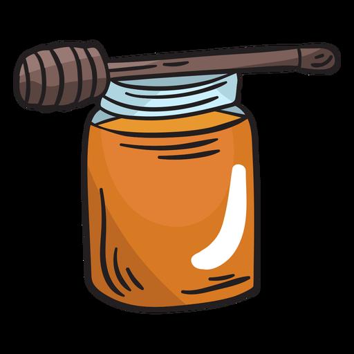 Ilustración de cazo de tarro de miel