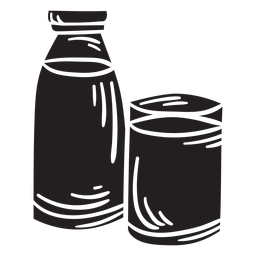 Illustration milk glass bottle black