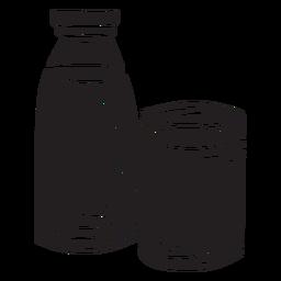 Ilustración botella de vidrio de leche negro