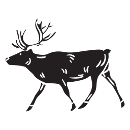 Moose black animal walking illustration