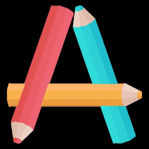 Alfabeto de decoração de lápis a Transparent PNG