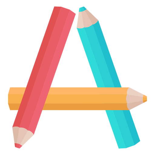 Pencils decor alphabet a Transparent PNG