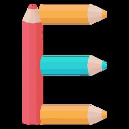 Pencils decor alphabet e