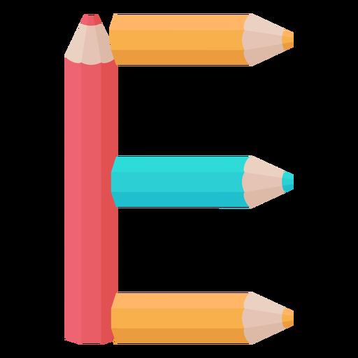 Pencils decor alphabet e Transparent PNG