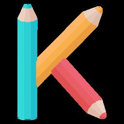 Lápis decoração alfabeto k