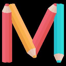 Lápis decoração alfabeto m
