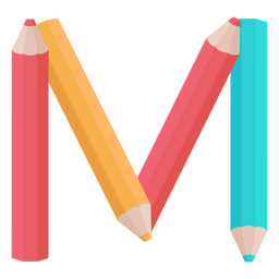 Pencils decor alphabet m