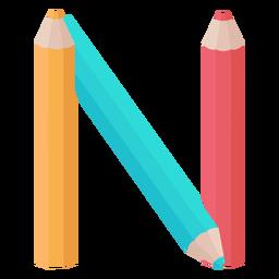 Pencils decor alphabet n