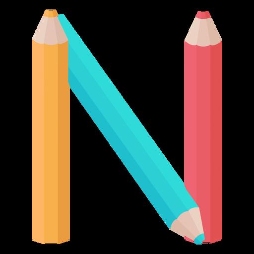 Pencils decor alphabet n Transparent PNG