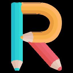 Lápis decoração alfabeto r