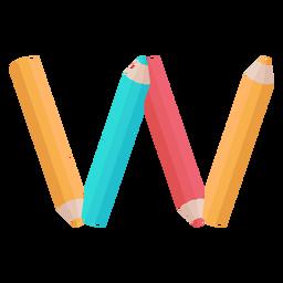 Lápis decoração alfabeto w