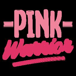 Pink warrior cancer awareness lettering