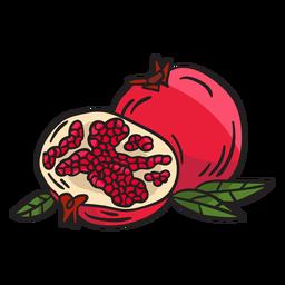 Ilustração de comida de fruta com romã