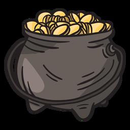 Ilustración irlandesa de duende de olla de oro