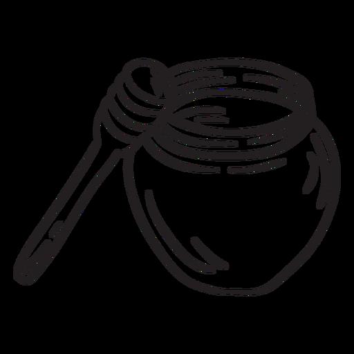 Pot honey dipper stroke Transparent PNG