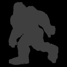 Executando bigfoot peludo sasquatch preto