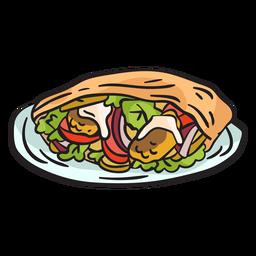 Ilustración de comida callejera israelí Shawarma