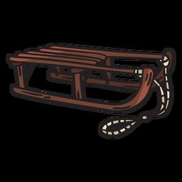 Ilustración de nieve de cuerda de trineo de madera