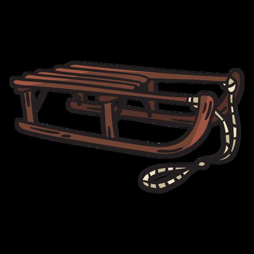 Ilustración de nieve de cuerda de trineo de madera Transparent PNG