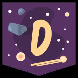 Space alphabet d banner