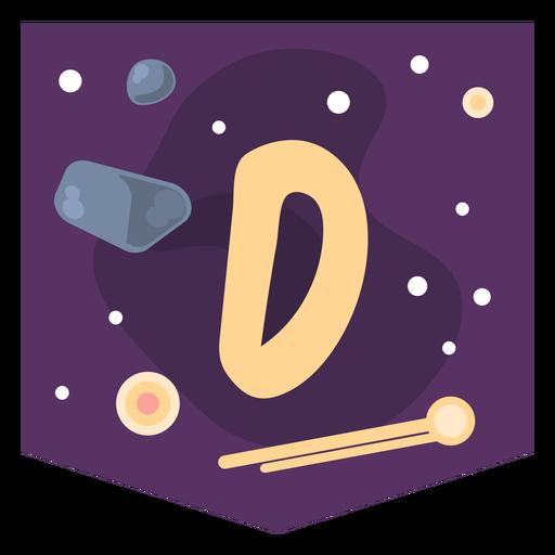 Space alphabet d banner Transparent PNG
