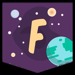Space alphabet f banner