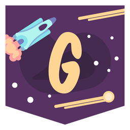 Space alphabet g banner