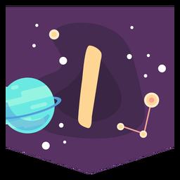 Space alphabet i banner