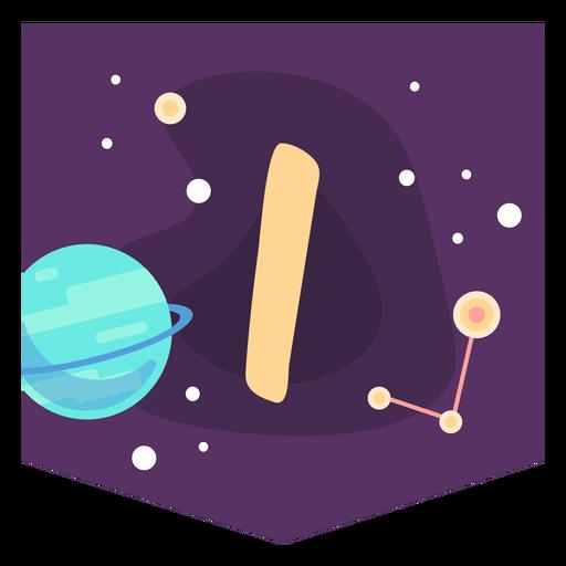 Alfabeto espacial i banner Transparent PNG