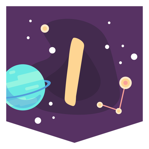 Space alphabet i banner Transparent PNG