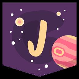 Banner de espacio alfabeto j