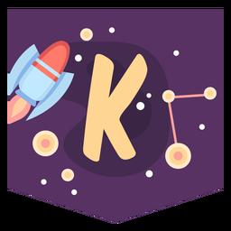 Space alphabet k banner