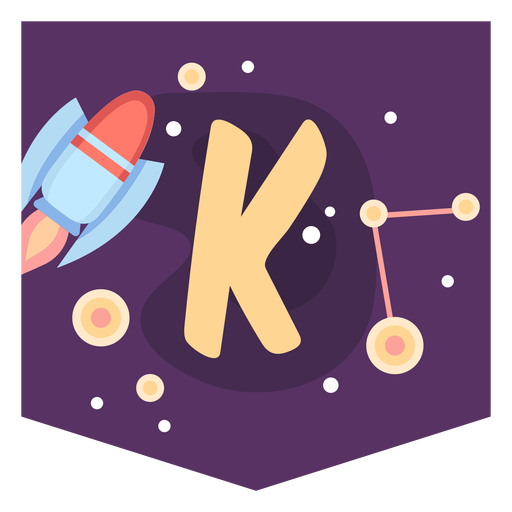 Space alphabet k banner Transparent PNG