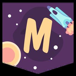 Space alphabet m banner