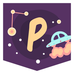 Banner de alfabeto de espacio p