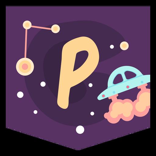 Space alphabet p banner Transparent PNG