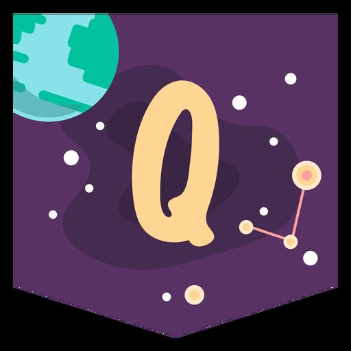 Space alphabet q banner Transparent PNG