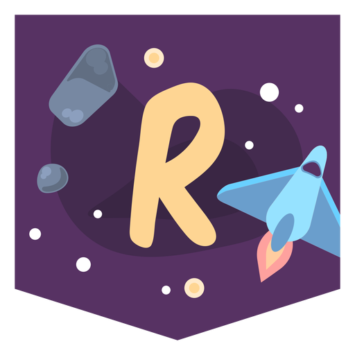 Space alphabet r banner Transparent PNG