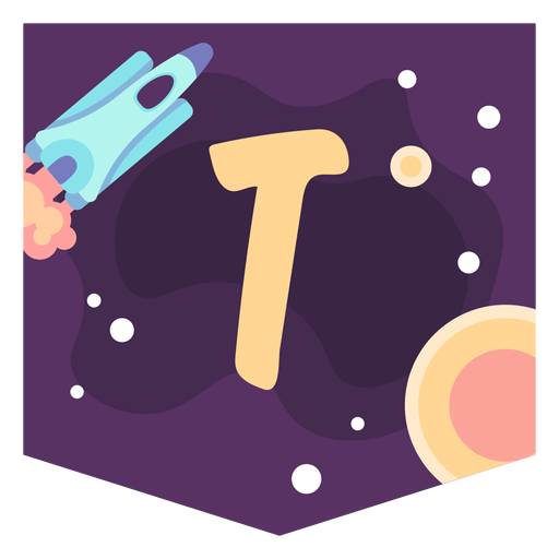 Space alphabet t banner Transparent PNG