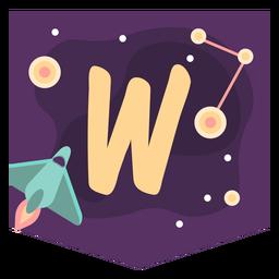 Space alphabet w banner