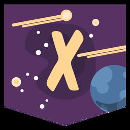 Space alphabet x banner