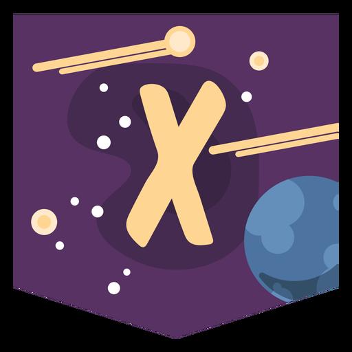 Alfabeto espacial x banner Transparent PNG