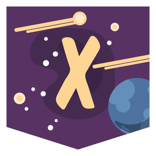 Space alphabet x banner Transparent PNG