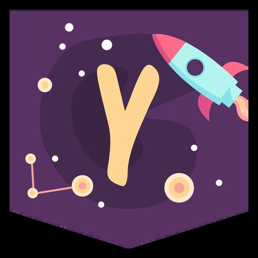 Space alphabet y banner Transparent PNG
