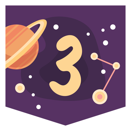 Space number 3 banner Transparent PNG