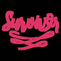 Sobreviver letras de câncer de mama rosa