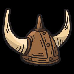 Ilustración de armadura de cuernos de casco vikingo