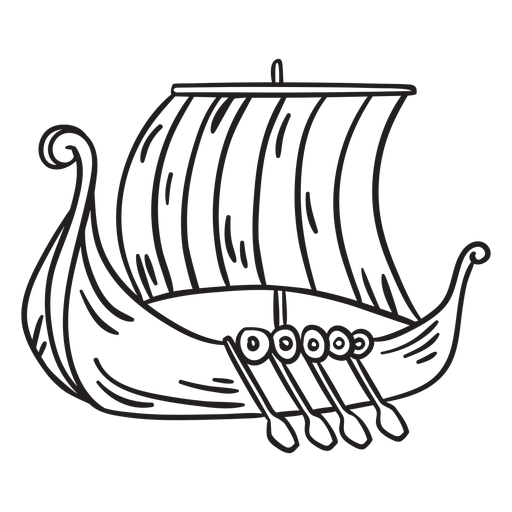 Water vessel viking ship stroke Transparent PNG
